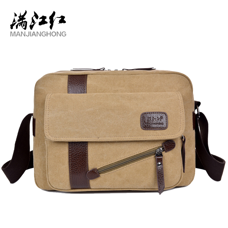 MANJIANGHONG Men's New Canvas Bag High Quality Casual Cross Section Square Bag Fashion Wild Shoulder Messenger Bag