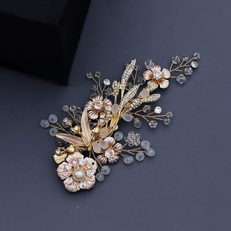 Hair Ornaments Wedding Fashion Headdress For Bride Handmade Wedding Crown Floral Pearl Hair Accessories