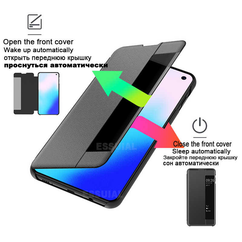 Smart View Telefon Fall Für Huawei P30 P20 Mate 20 30 10 9 Pro Lite P10 Plus Nova 3 Y6 y7 P Smart Z 2018 2019 Leder Flip-Cover