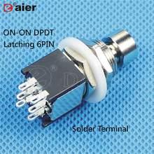 2 шт., кнопочный переключатель M12X0.75, 6 штифтов на DPDT, двухполюсный, двойной заброс, блокировка/мгновенная для гитарных эффектов, педаль