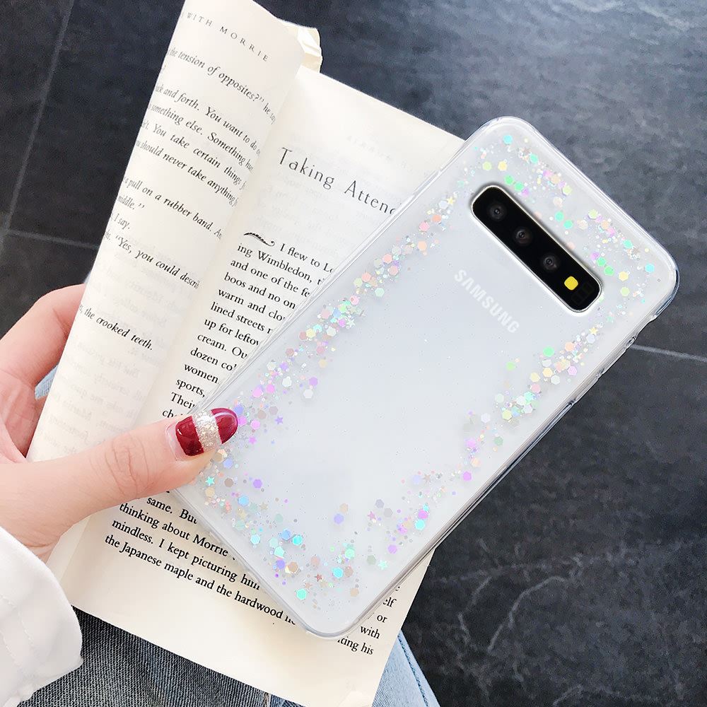LLZ.COQUE Bling Glitter Silicone Soft Case for Samsung S20 Ultra S8 Plus S10 S7 Edge A3 A5 A8 Diamond Cover for Galaxy S9 Plus