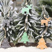 3Pcs/lot Christmas Wooden Chip Natural Snowflake Deer Tree Pendants Ornaments Decorations for Home Party Hanging Gift