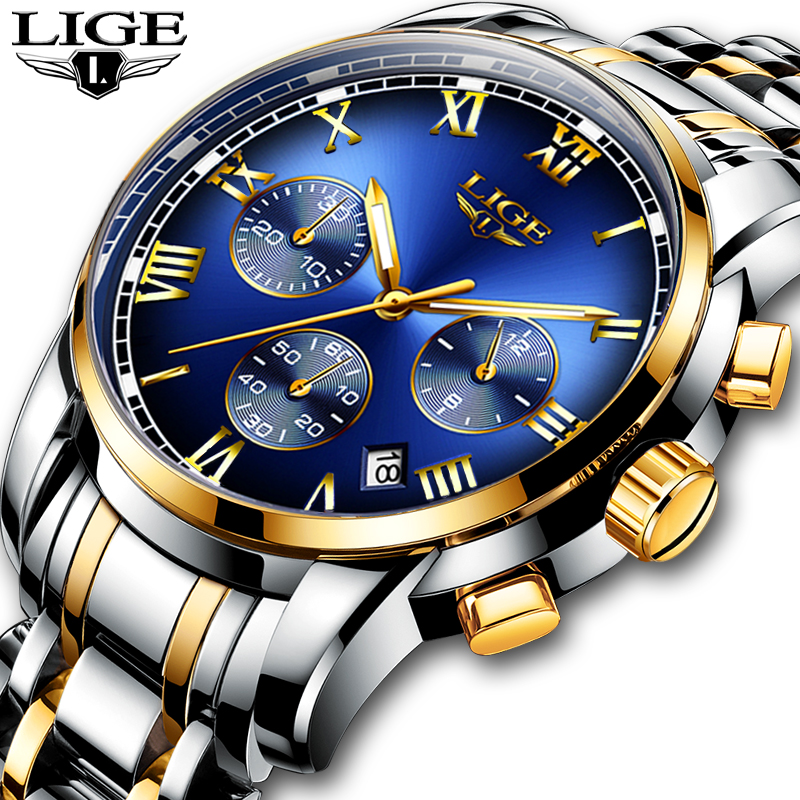 2019 새로운 시계 남자 럭셔리 브랜드 LIGE 크로노 그래프 남성 스포츠 시계 방수 전체 스틸 쿼츠 남자 시계 Relogio Masculino