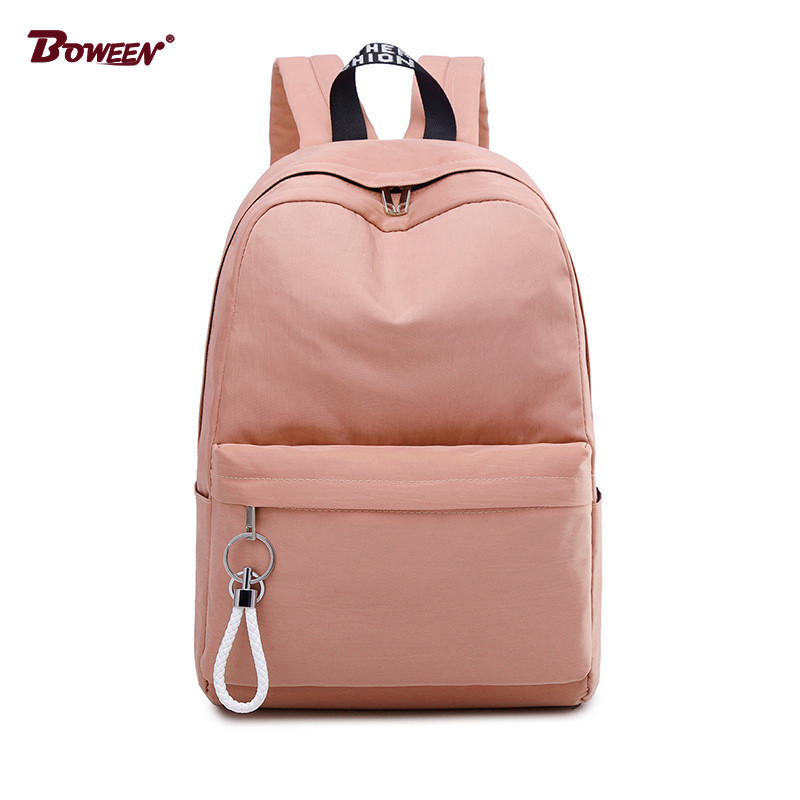 College Wind Schoolbag Backpack Female Teenage Girls Student School Bags Nylon Waterproof Bagpack Big Capacity Solid Bag Pack