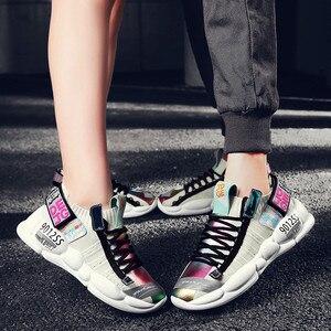 Image 2 - 高 品質の男性と女性のスポーツの靴加硫繊維靴通気性人格ステッチtenis feminino zapatos mujer