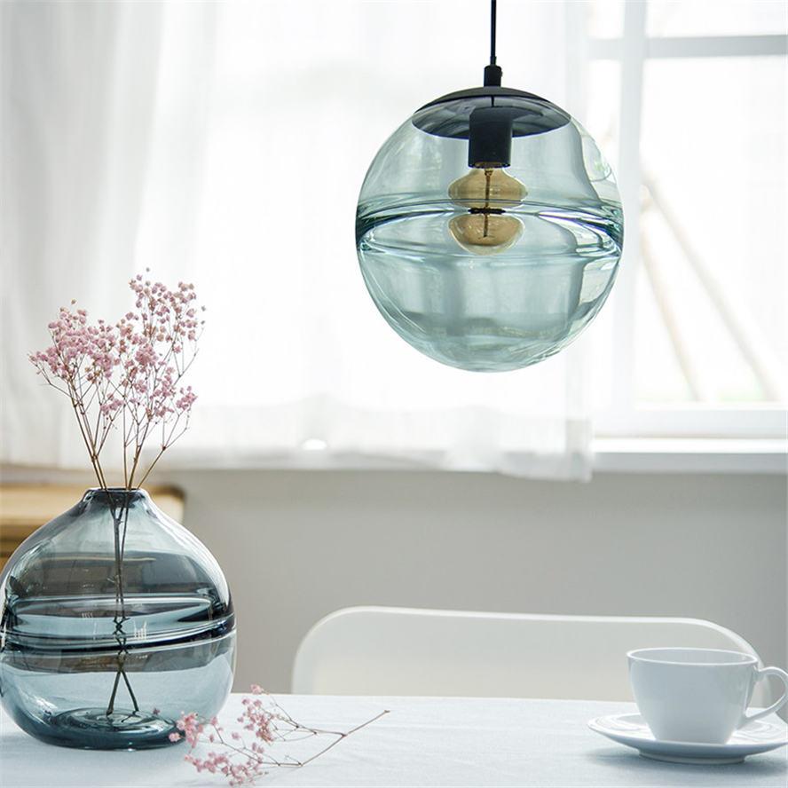 Image 5 - postmodern Italian design blue glass globe pendant lights for villa bedroom coffee store lamp fashion suspended led luminaire-in Pendant Lights from Lights & Lighting