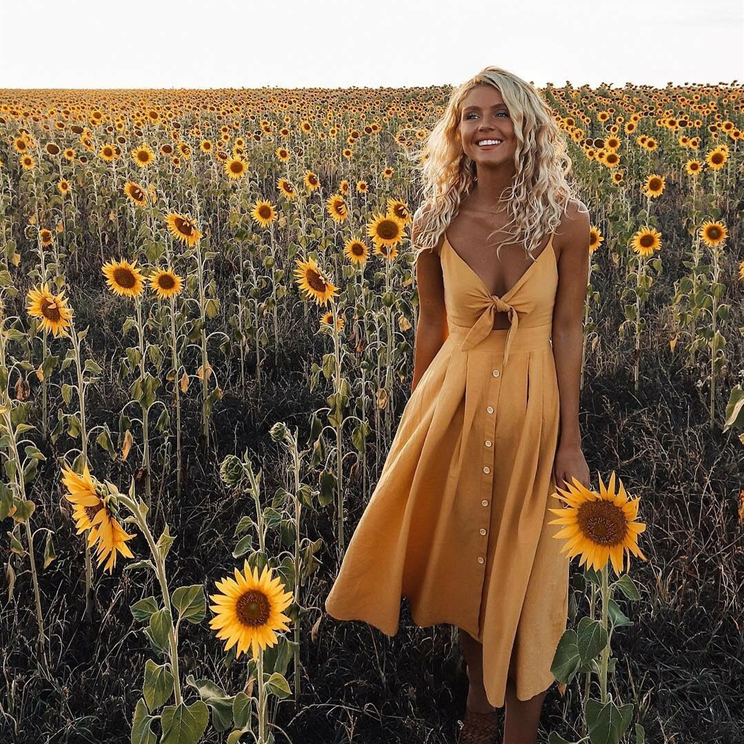 Women's Boho Beach Summer Robe Femme Single Breasted Elegant Dress Holiday Vacation Sundress Ladies Casual Yellow Dresses