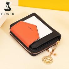 Foxer النساء انقسام الجلود محفظة صغيرة محفظة الإناث شيك عملة صغيرة جيب الفاخرة المال محفظة حامل بطاقة سيدة لفتاة 230017F