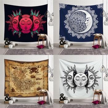 Toalla psicodélica para colgar en la pared del sol y la luna, tapiz artístico nórdico, tapiz bohemio de poliéster, diseño de Mandala, cubierta de Manta, decoración del hogar