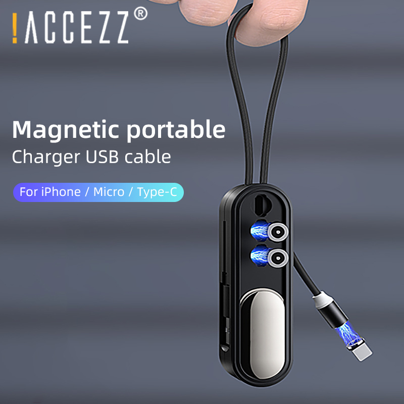 !ACCEZZ 3 in 1 Short Magnetic USB Cable With Magnetic Plug Box Storage For iPhone 11 Pro XS MAX XR X Huawei Xiaomi Charging Wire 1