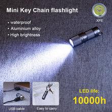 미니 포켓 XPE LED 손전등 USB 충전식 방수 화이트 라이트 키 체인 토치 작은 Lanterna 상자 10180 배터리