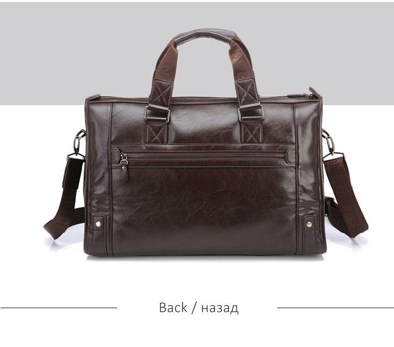 H8da9b5bd3cf24659944d1cc91c2172faU Men Leather Black Briefcase Business Handbag Messenger Bags Male Vintage Shoulder Bag Men's Large Laptop Travel Bags Hot XA177ZC