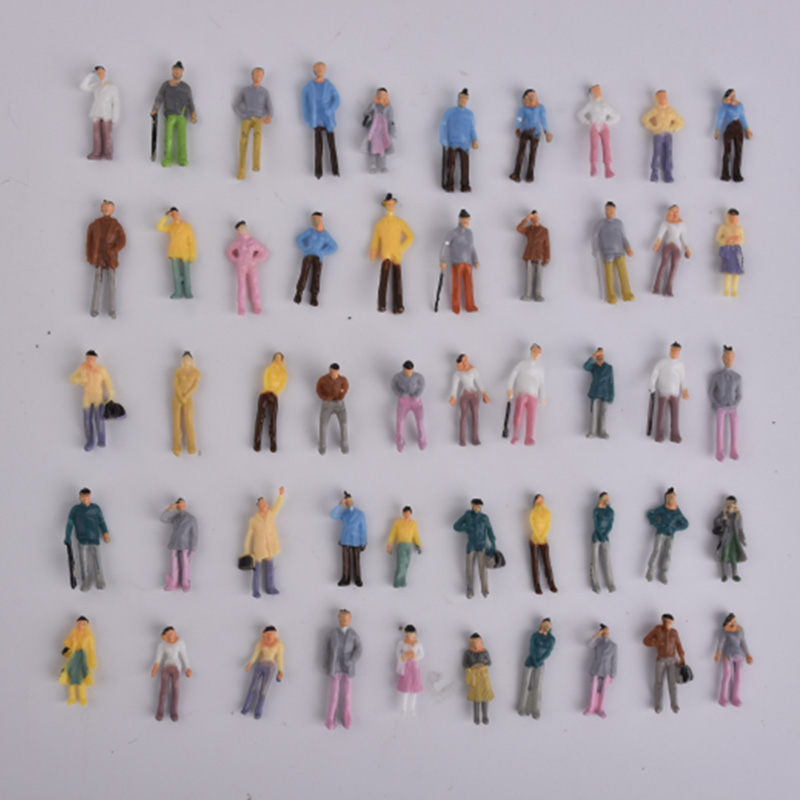 100pcs Building Layout Model People Train 1:75 OO Scale Painted Figure Passenger