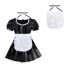 Image 3 - Women Sexy French Maid Servant Role Playing Costume Shiny Babydoll Fancy Dress Lingerie Erotic Cosplay Princess Uniform Aprons