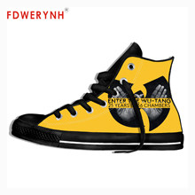 Men Walking Shoes Wu Tang Clan Shoes Vulcanize C.R.E.A.M. DARE 3D Zapatos De Hombre Cool Street Breathable Canvas Black Shoes(China)