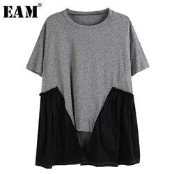 Женская Асимметричная футболка EAM, серая плиссированная футболка с круглым вырезом и коротким рукавом, весна-лето 2020, 1U094