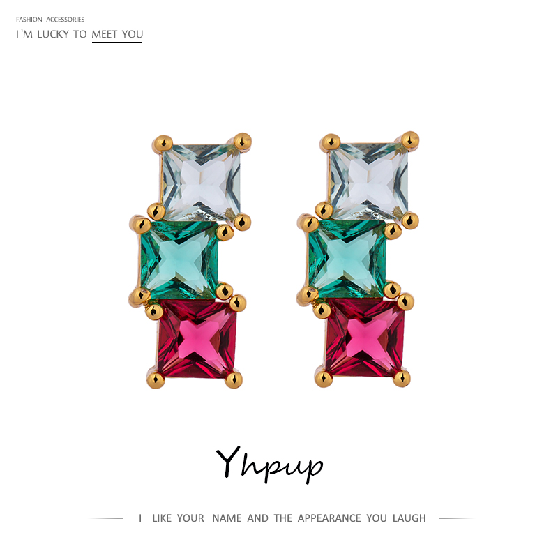 Yhpup mode coloré carré cubique zircon boucles d'oreilles petites minuscules boucles d'oreilles Bijoux En Argent pour fille femmes accessoires