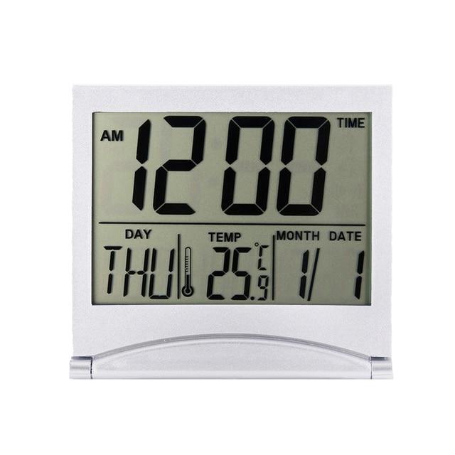 Folding LCD Digital Alarm Clock Desk Table Weather Station Desk Temperature Travel Ectronic Mini Clock 2
