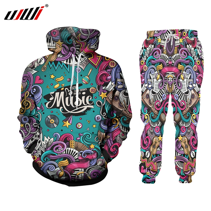 UJWI 3D Print Men 2 Piece Set Music Note Instrument Party Hip Hop Jogger Tracksuit Jacket Sweatsuit Sweatshirt Hoodies Sports