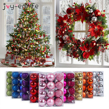 24pcs Christmas Xmas Tree Balls Baubles decorations for home Hanging Ornaments navidad Party Decor Gift New Year