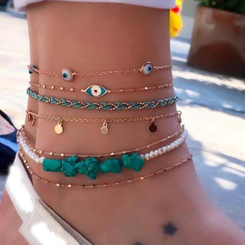 Tocona Summer Bohemia Blue Stone Bead Ankles Hand Woven Rope Turkish Eye Women Ankle Bracelet on the Leg Jewelry 9253