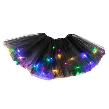 Women 3 Level Mesh Tulle Skirt Princess Skirt With Led Small Bulb Skirt Layer Mesh Tutu Skirt Ballet Skirt Adult Vestidos 2