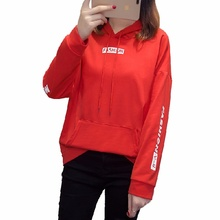 цена на Women's Hooded Sweatshirt Autumn Letter Print Hoodies Sweatshirts Pullover Loose Sports Sweatshirt