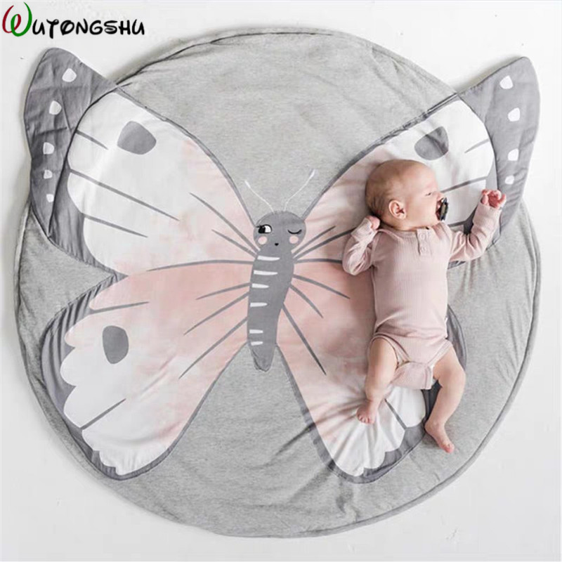 Toys Play Mat Cartoon Animal Baby Mat Newborn Crawling Blanket Cotton Round Floor Carpet Rug Mat For Kids Room Decor Photo Props