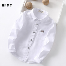 GFMY 2020 New Spring Oxford Textile Cotton Solid color Pink Black Boys white Shirt 3T-14T British style Childrens Tops