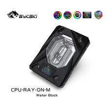 Bykski CPU-RAY-On-M, blocco acqua CPU AMD in rame con Display della temperatura OLED per processore RGB di raffreddamento CPU AMD RYZEN AM3/AM3 +/AM4