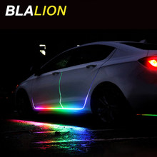 Car RGB Led Light Strip Led Lamp Door Warning Flash Lamp 12v Auto Remote Control Strip RGB Colorful Decorative Atmosphere Light
