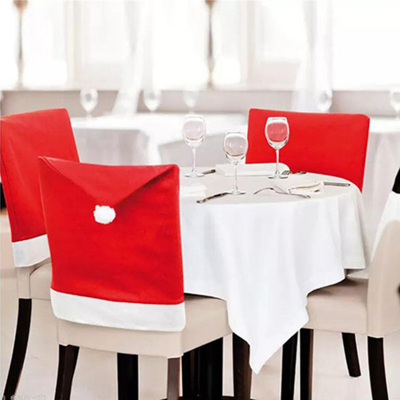 16PCS Santa Hat Christmas Chair Covers Christmas Decor Dinner Chair Xmas Cap Cover For Christmas Home Hotel Banquet #2E13
