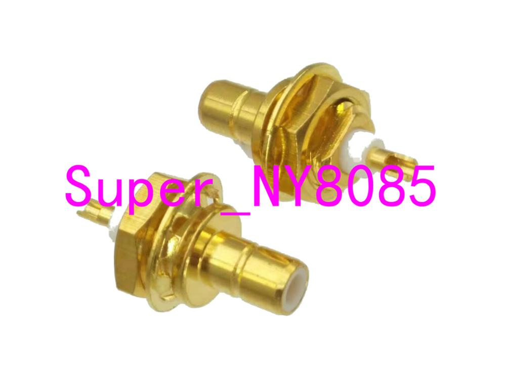 Connector SMB Male Plug Nut Bulkhead PTFE Solder Cup Panel Mount Straight