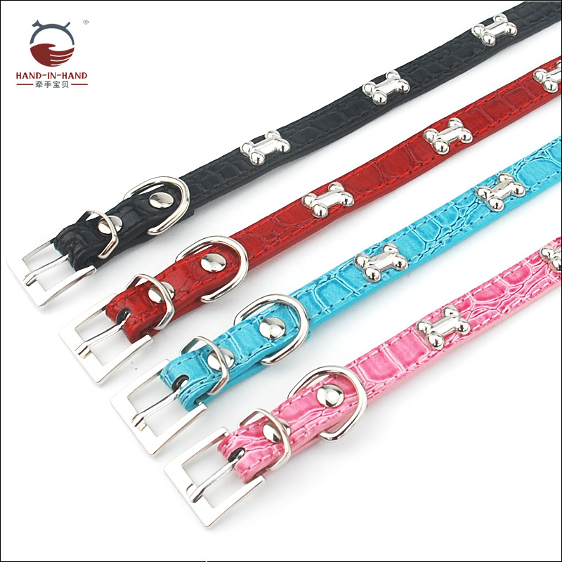 Hand-in-hand Pet Supplies Pet Collar Large Dog Collar Dog Supplies Crocodile Pattern Leather Neck Band