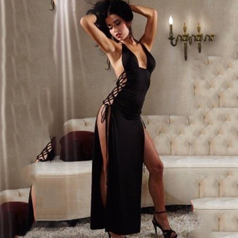 Женское сексуальное ночное белье lw-cut, без рукавов, с открытой спиной, на бретельках, для сна, длинное платье, имитация, ночное белье