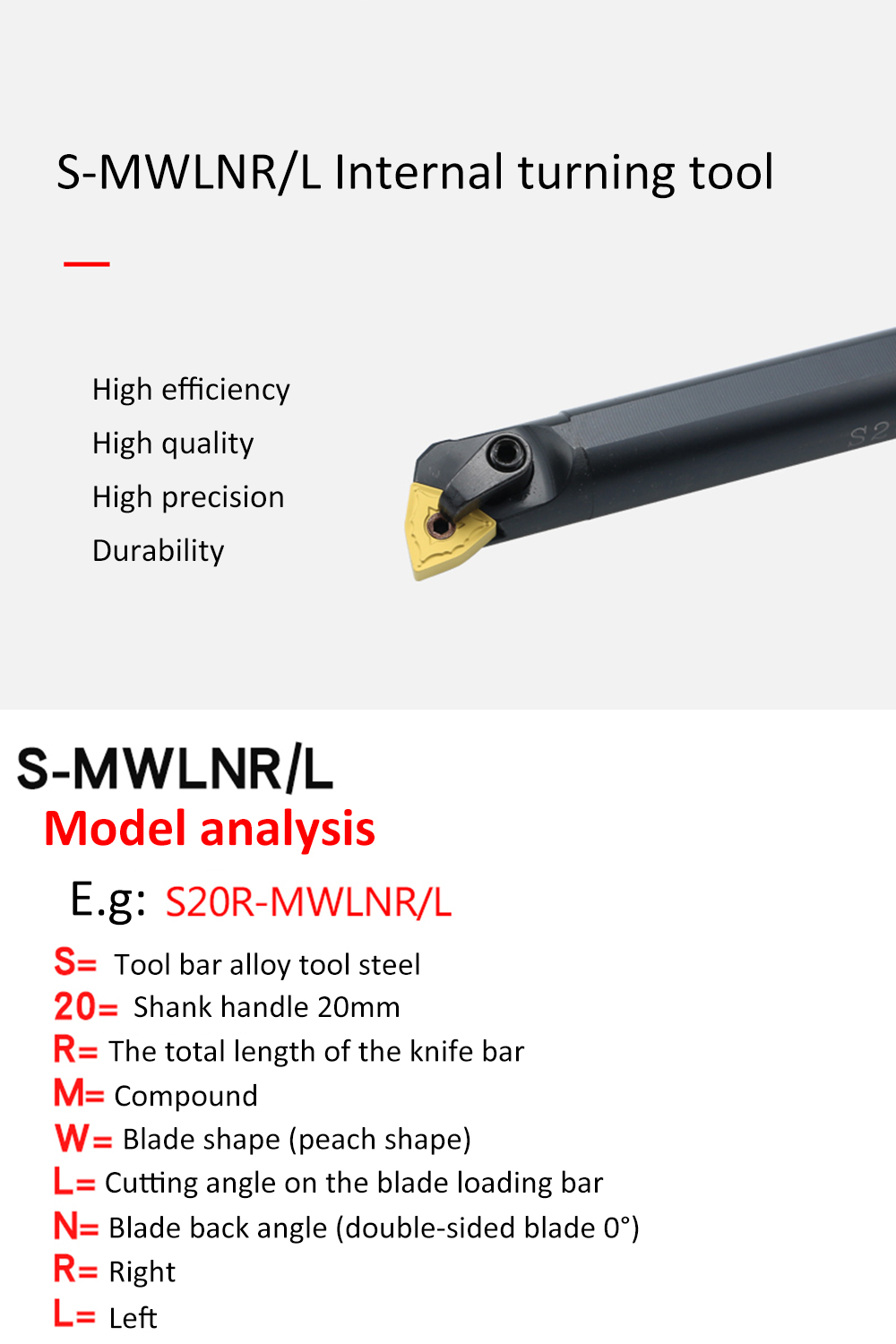 Shentesel High Strength S20R-MWLNR08 20x200mm Lathe Turning Tool for WNMG0804 Inserts