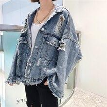 2020 Spring Autumn Women Denim Jackets Broken Hole Plus Size BF Style Long Sleeve Vintage Jean Jacket Loose Coat Outerwear NZY96