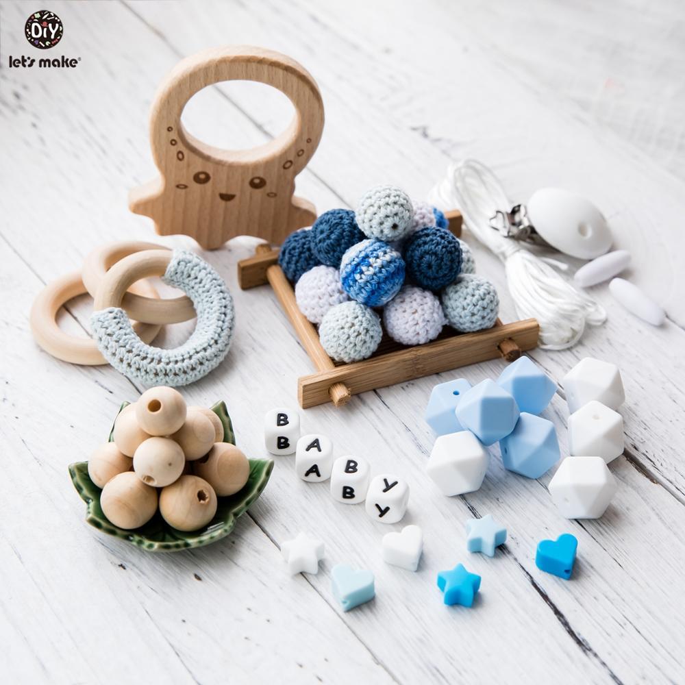 Let'S Make 1set Crochet Beads Wooden Teether Cartoon Teething Toys For Kids Baby Teether DIY Handmade Teething Beads Teether Toy
