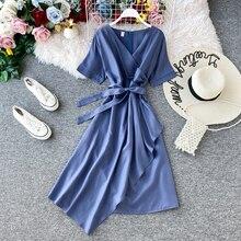 FTLZZ Slim Vintage V Neck Bandage Dress Summer Sashes A-line Party Dres