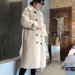 Image 5 - [DEAT] 2020 New Winter Fashion Womens Coat Lapel Belt Lamb Lambswool Woolen Nine Sleeves Thick With Belt Warm Long Length AI773