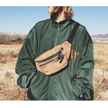 Płócienna torba biodrowa Unisex Zipper torba na klatkę piersiowa Street Sport Casuale piterek Girl Boy torebki na pasku na biodra moda telefon saszetka biodrowa B90 tanie i dobre opinie kovenly CN (pochodzenie) Sztruks 100cm Corduroy Solid Hip-hop Poduszki WOMEN 32cm Waist pack