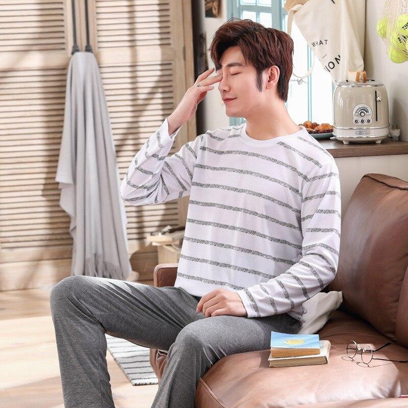 2019 Spring Autumn Thin Cotton Casual Striped Pajamas Sets For Men Long Sleeve Pyjama Sleepwear Homewear Male Loungewear Clothes