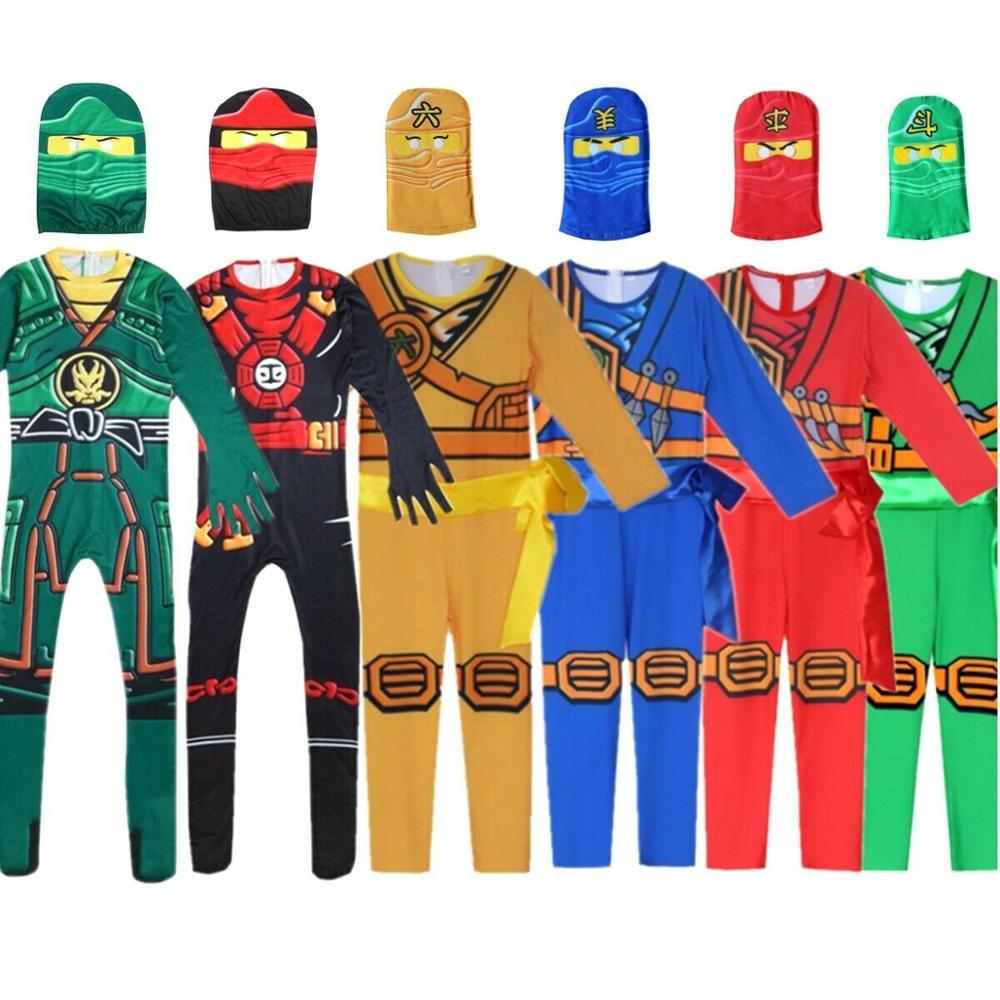LEGOO Ninjago Party Costumes Boys Kids Halloween Cosplay Jumpsuits Ninja Superhero Suit Children Carnival Purim Clothes Set