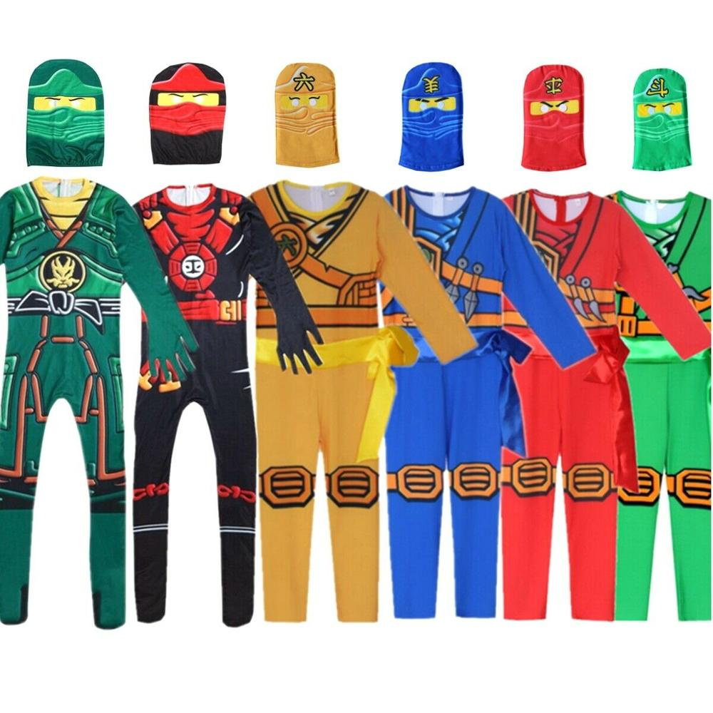 LEGOO Ninjago Party Costumes Boys Kids Halloween Cosplay Jumpsuits Ninja Superhero Suit Children Carnival Purim Clothes Set