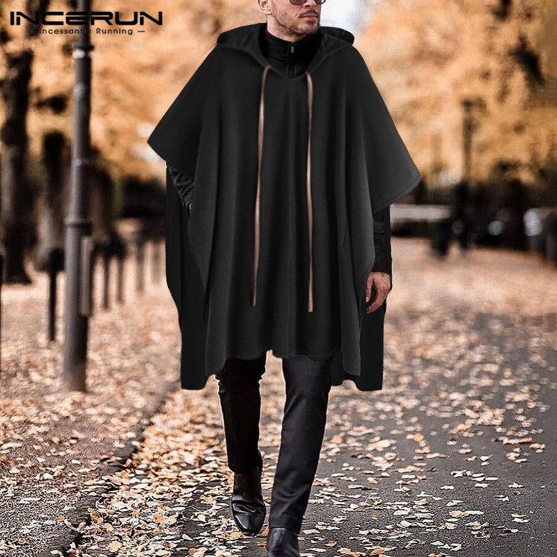 INCERUN Fashion Men Cloak Coat Hooded Cape V Neck Streetwear Solid Handsome Loose Jackets Irregular Men Long Trench 2020 S-5XL 7
