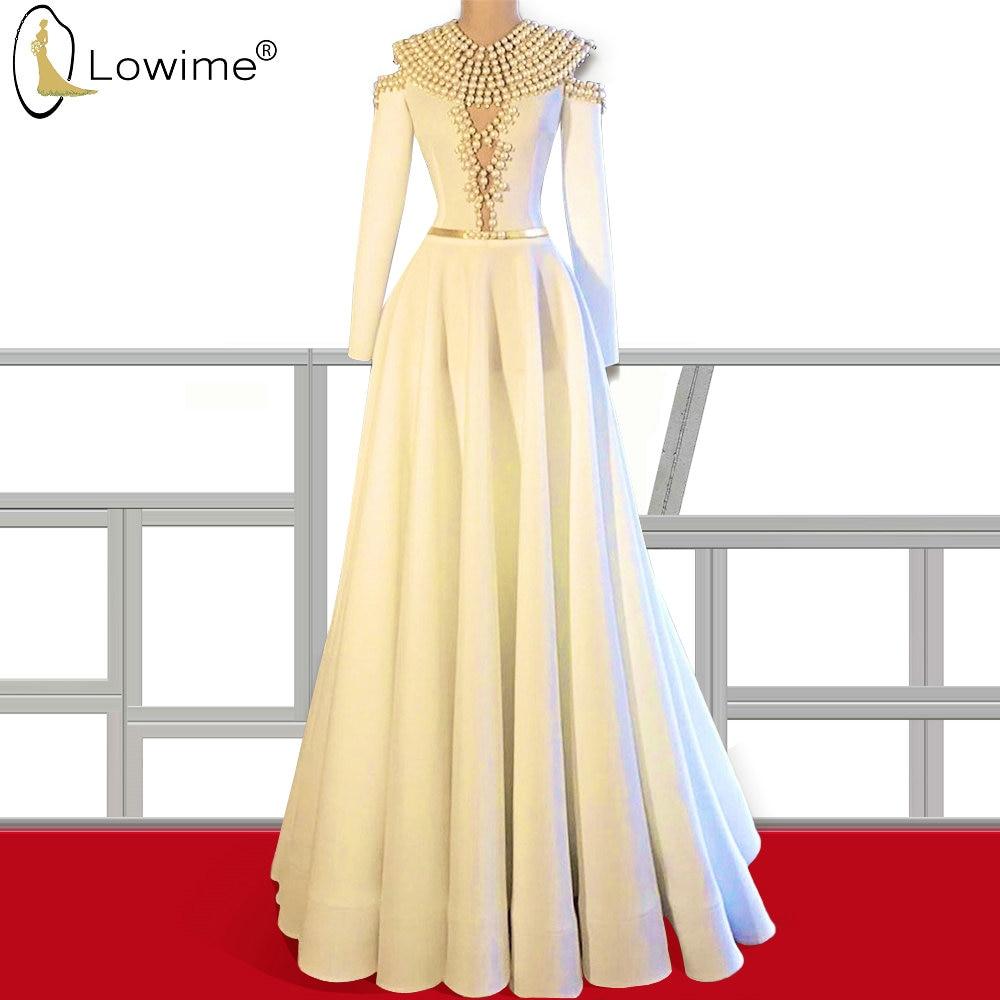 Vestido De Soiree Ivory Pearls Evening Dresses A Line Muslim Long Sleeve Floor Length Formal Dress Robes вечернее платье
