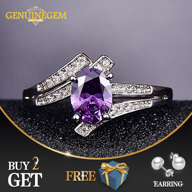 GENUINEGEM Top Quality Sterling Silver 925 Jewelry Amethyst Rings For Women Wedding Engagement Purple Red Blue Gemstone Ring