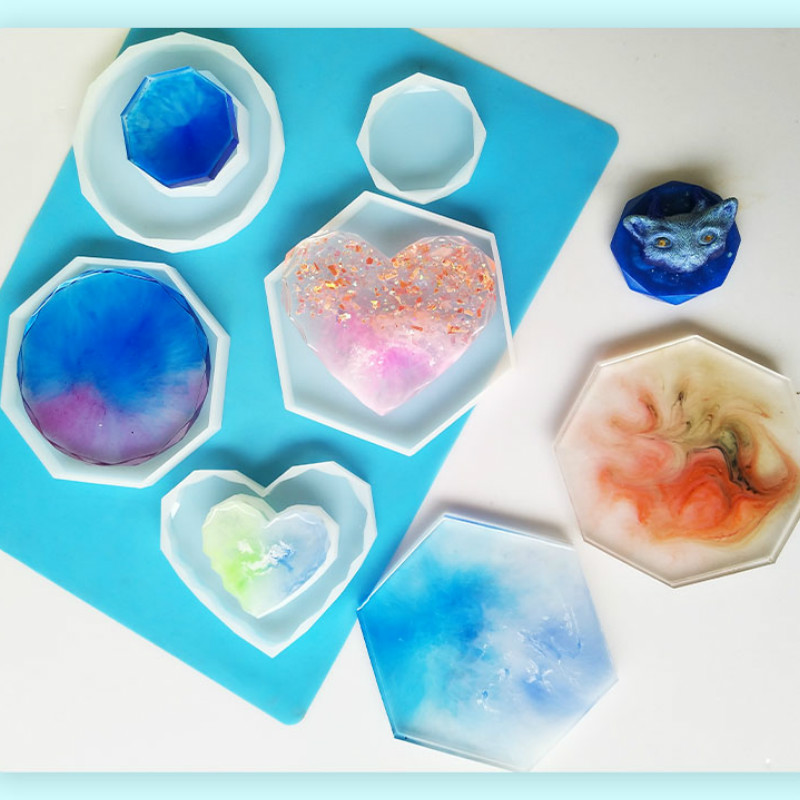 Big Diamond Heart Coaster Silicone Mold Epoxy Resin Craft Supplies Make Your Own Coaster Artist Flower Epoxy Silicone Mold Resin