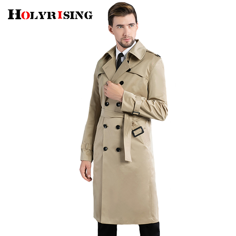 Holyrising Men Trench Coat Turn Collar Double Button Hombre Larga Long Coat Slim Long Windbreaker British Style Clothes 18935-5