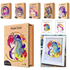 New Unique Unicorn Wooden Puzzle Wooden Box 1:1 Adult Kids Animal Jigsaw Puzzle Parent-child DIY Puzzle Photo Frame Toy Gifts